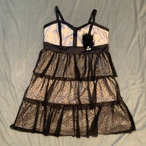 Torrid Black Nude Tier Lace Dress EUC Size 18